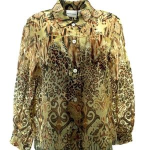 Alfred Dunner Blouse 12 Button Down Animal Print